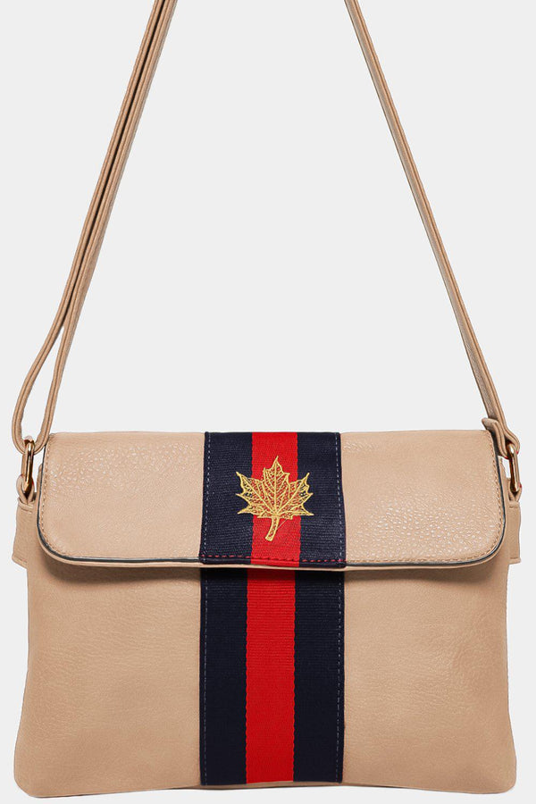 Beige Leaf Embroidery Tape Stripe Mini Shoulder Bag