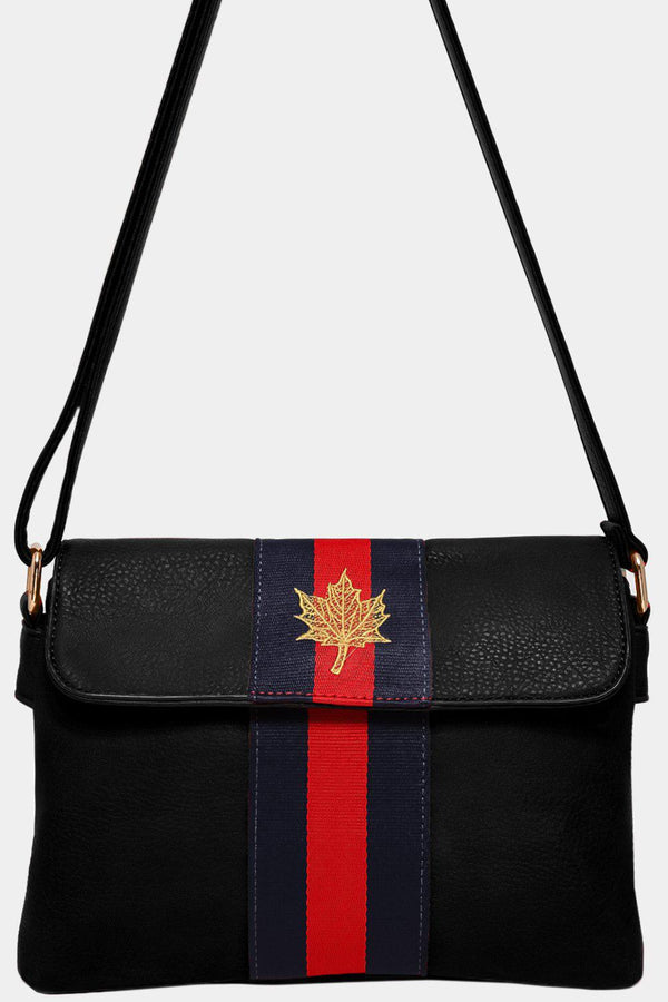 Black Leaf Embroidery Tape Stripe Mini Shoulder Bag