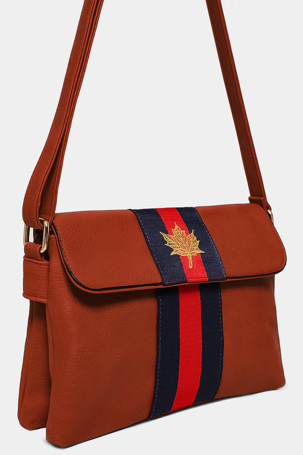 Brown Leaf Embroidery Tape Stripe Mini Shoulder Bag