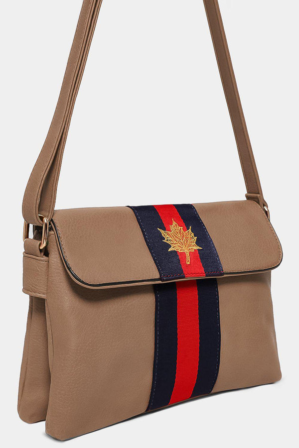 Khaki Leaf Embroidery Tape Stripe Mini Shoulder Bag