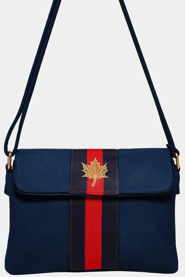 Navy Leaf Embroidery Tape Stripe Mini Shoulder Bag