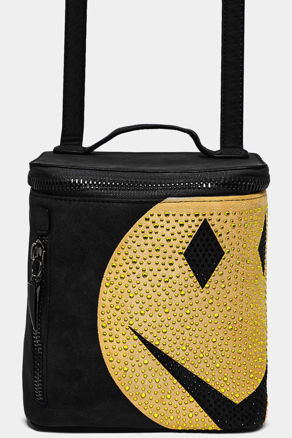 Crystals Embellished Emoji Black Tall Box Shoulder Bag - SinglePrice