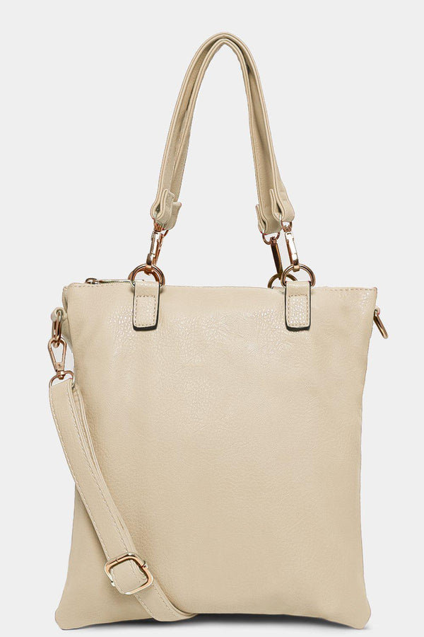 Beige Twin Compartment Messenger Handbag
