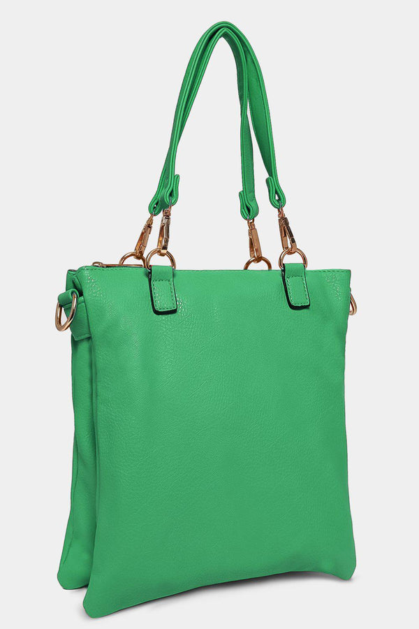Green Twin Compartment Messenger Handbag