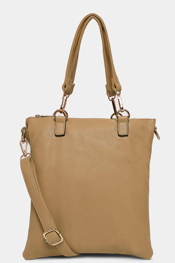 Khaki Twin Compartment Messenger Handbag