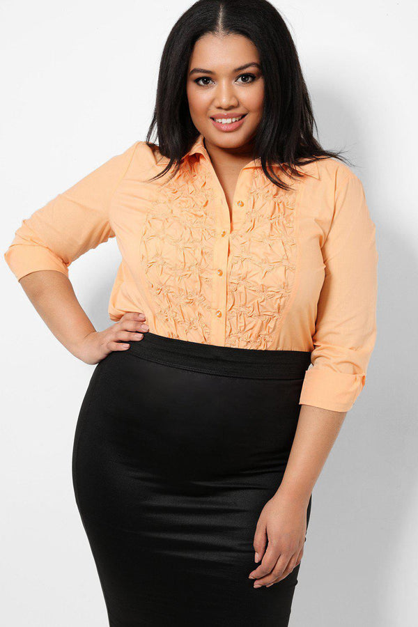 Apricot Ruched Front Detail Shirt-SinglePrice