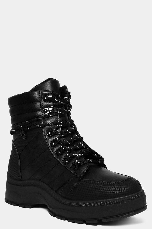 Black Chunky Flatform Hiking Boots