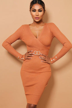 Camel Pearl Twin Ring Belt Detail Rib Knit Midi Dress - SinglePrice