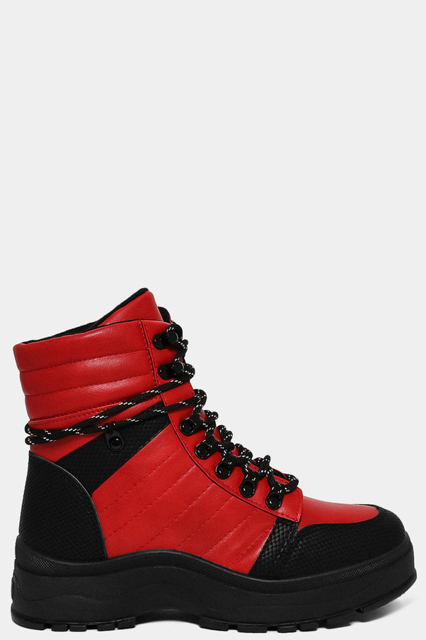 Red Black Chunky Flatform Hiking Boots-SinglePrice