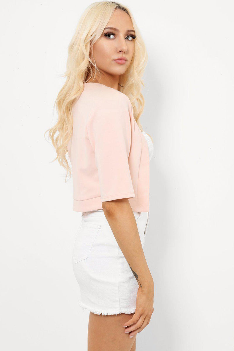 Open Front Light Pink Bolero - SinglePrice