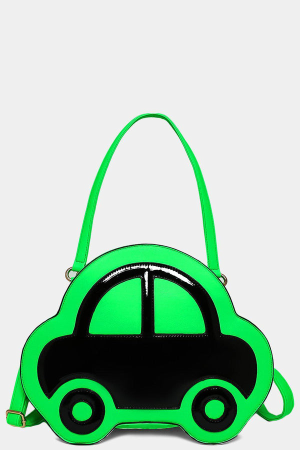 Neon Green Patent Car Front Handbag