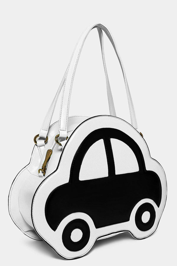 White Patent Car Front Handbag