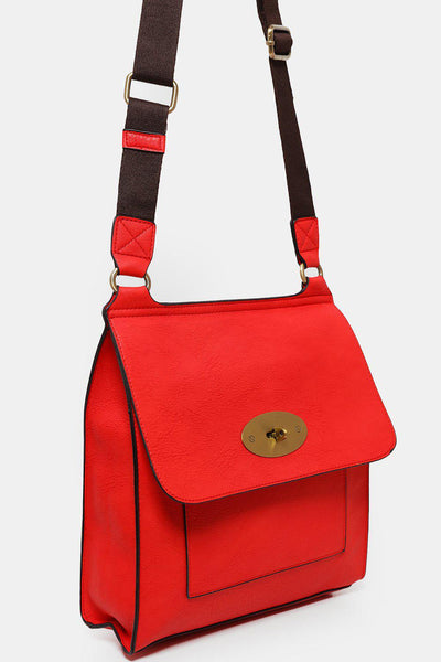 Red Raw Vegan Leather Messenger-SinglePrice