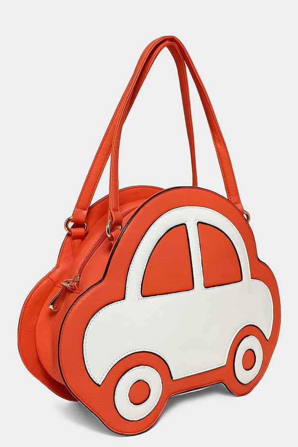 Orange Patent Car Front Handbag