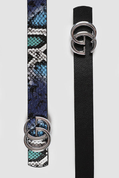 Silver Buckle Blue Snake Print Thin Reversible Belt-SinglePrice