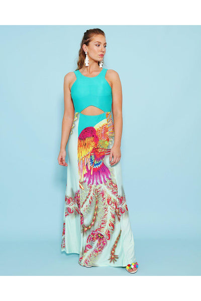 Cut Out Details Bird Print Green Maxi Dress-SinglePrice