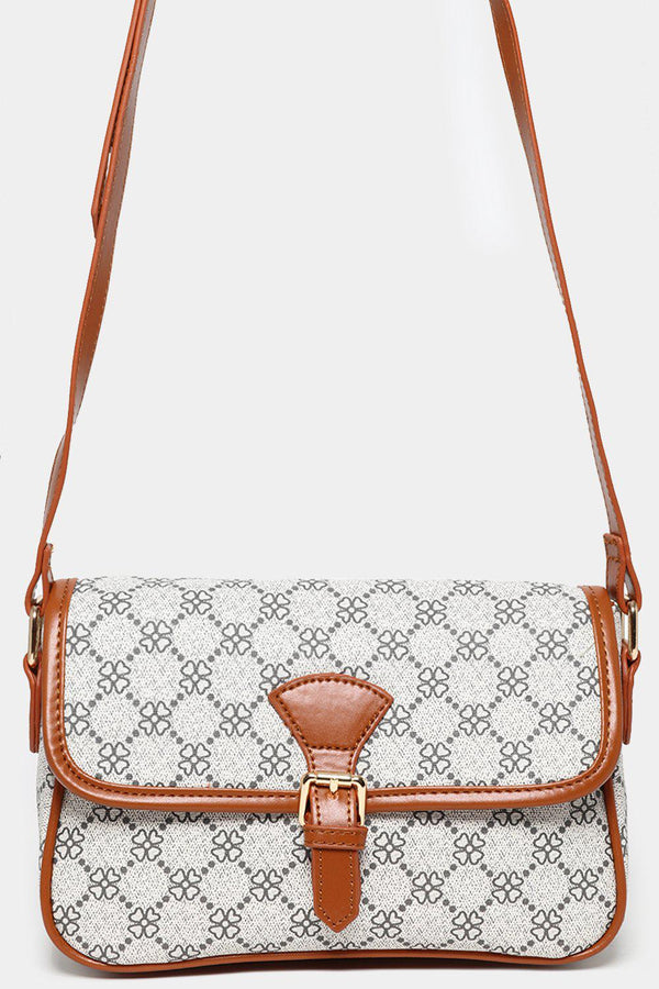 Brown TrimsFloral Pattern Small Cross Body Bag-SinglePrice