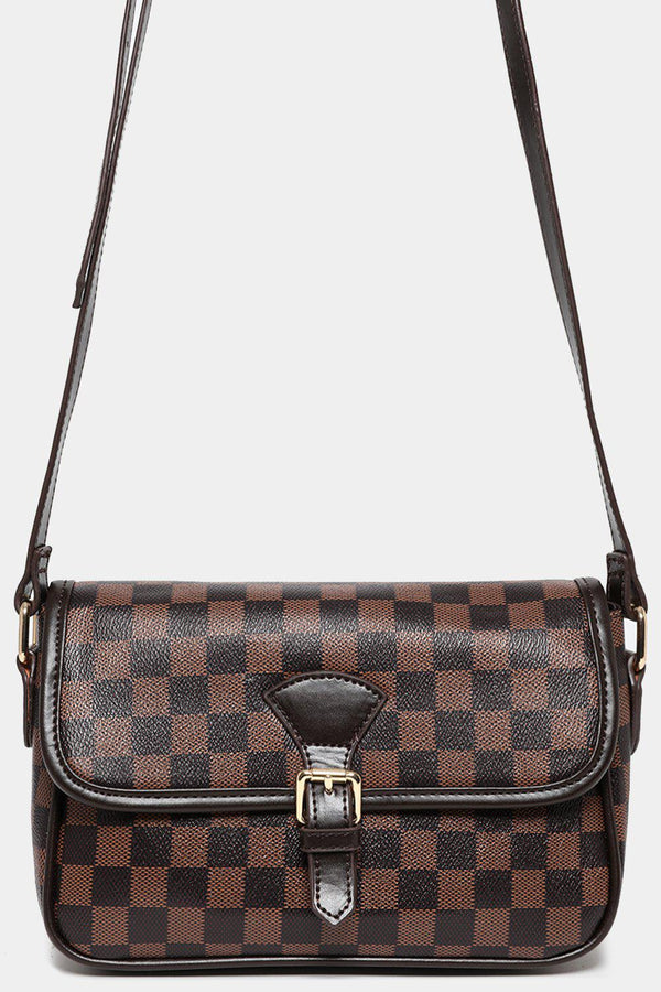 Coffee Trims Brown Checked Small Cross Body Bag-SinglePrice