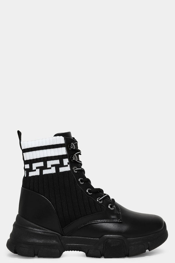 White Ribbed Sock Black Vegan Leather Ankle Boots-SinglePrice