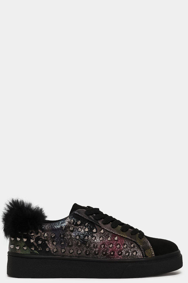 Camouflage Spiky Side Faux Fur Cuffs Trainers-SinglePrice