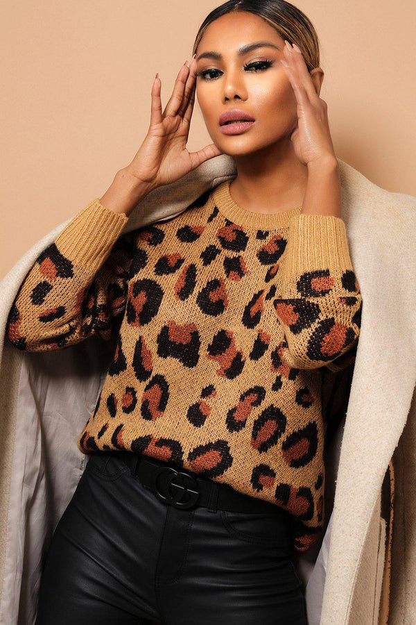 Large Brown Leopard Print Jumper