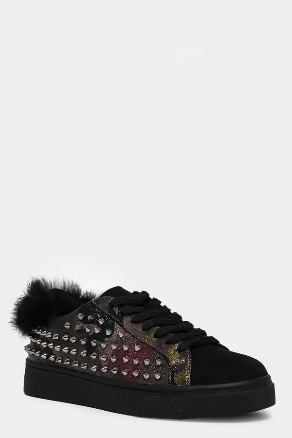 Camouflage Spiky Side Faux Fur Cuffs Trainers