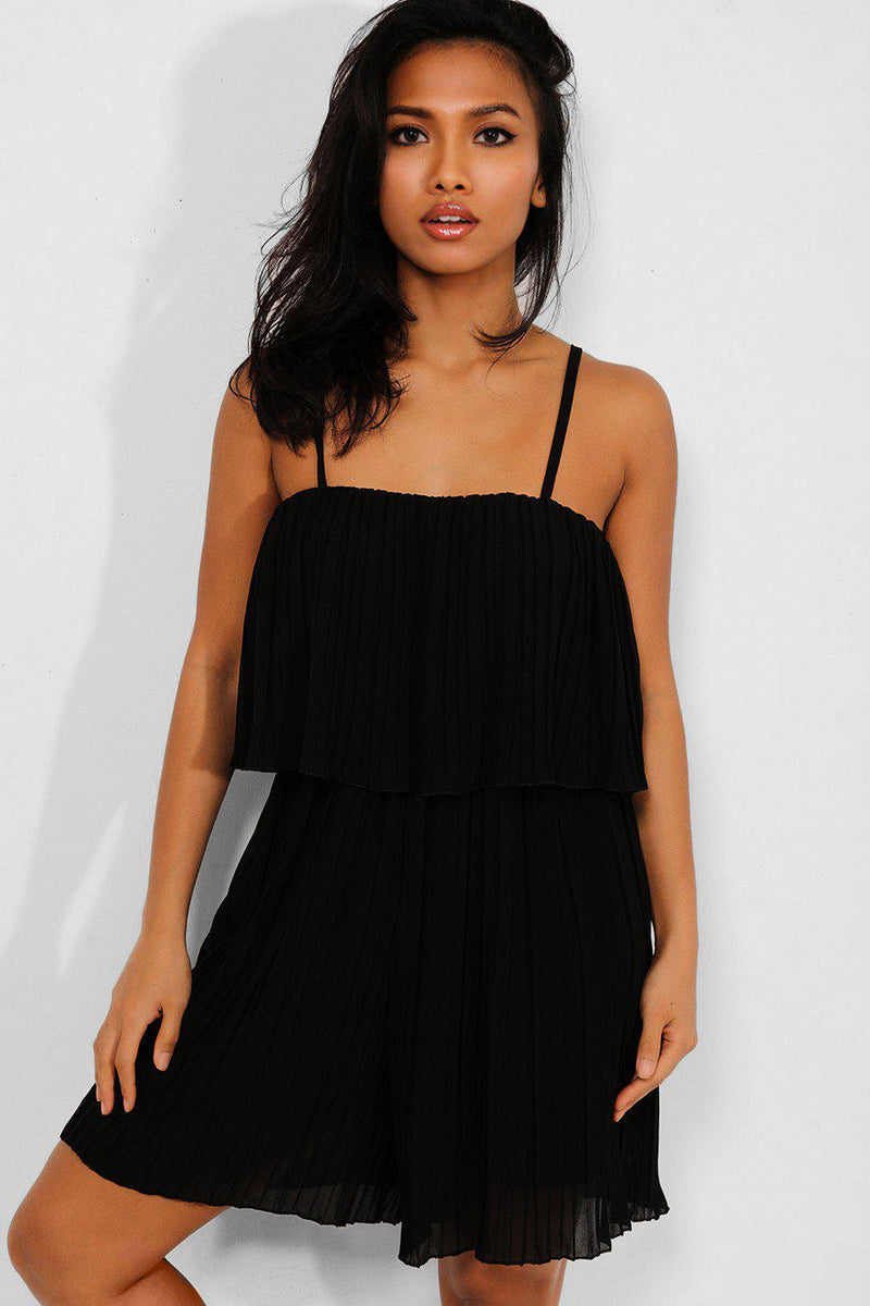 Black Layered Pleated Cami Playsuit - SinglePrice