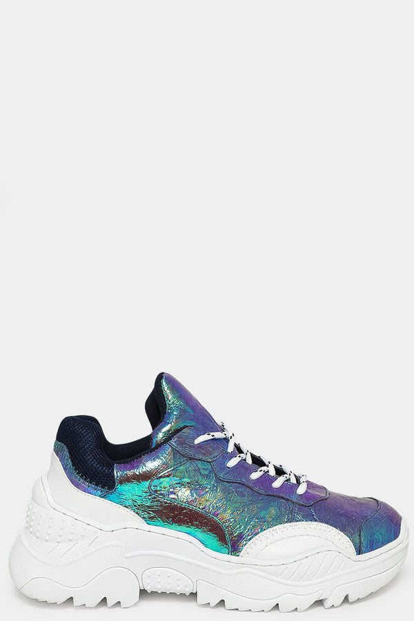 Blue Crushed Holographic Chunky Trainers-SinglePrice