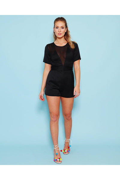 Deep Sheer V Neck Black Playsuit-SinglePrice