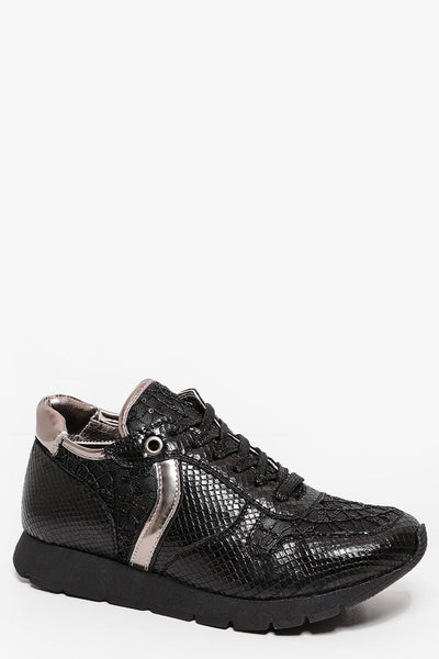 Black Faux Snake Skin Wedge Trainers-SinglePrice