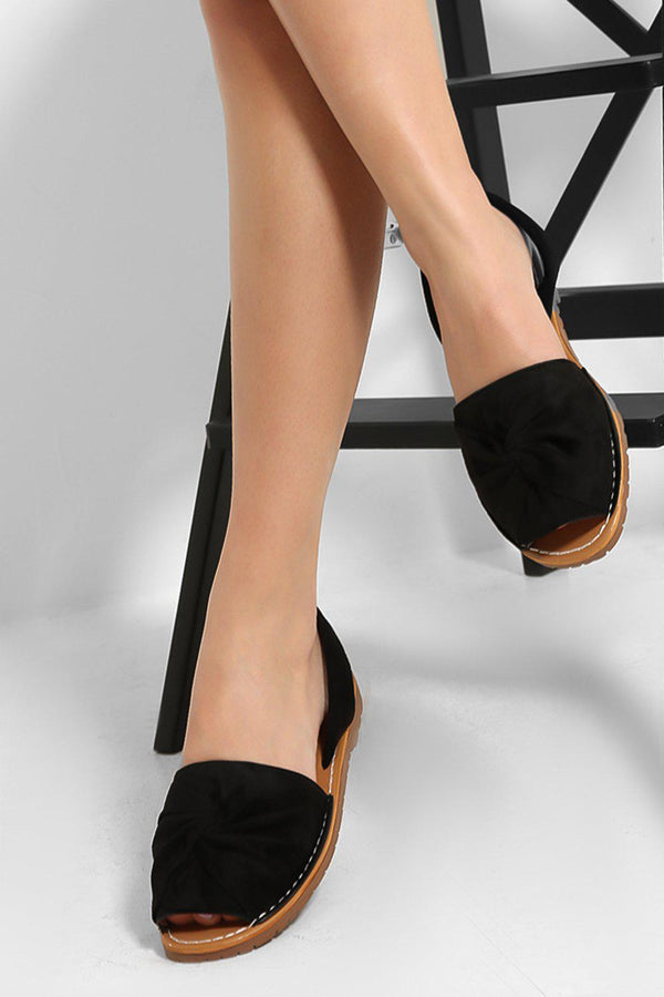 Black Vegan Suede Twist Detail Peep Toe Sandals