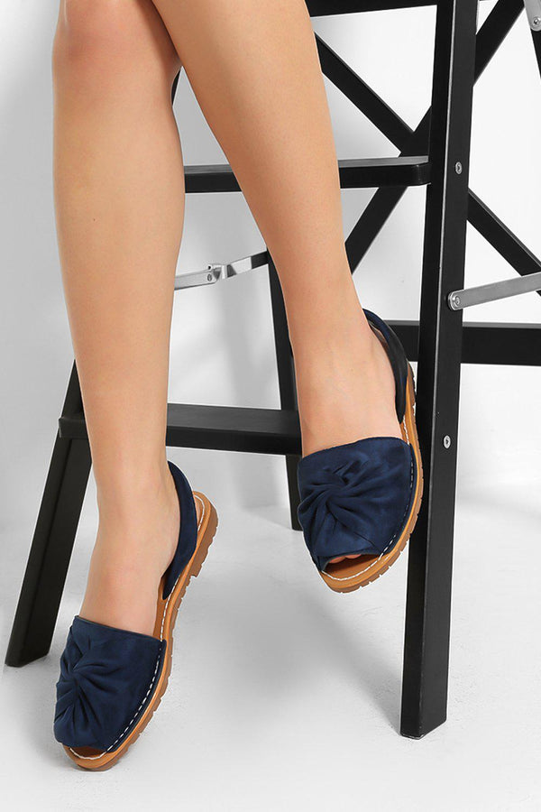 Blue Vegan Suede Twist Detail Peep Toe Sandals