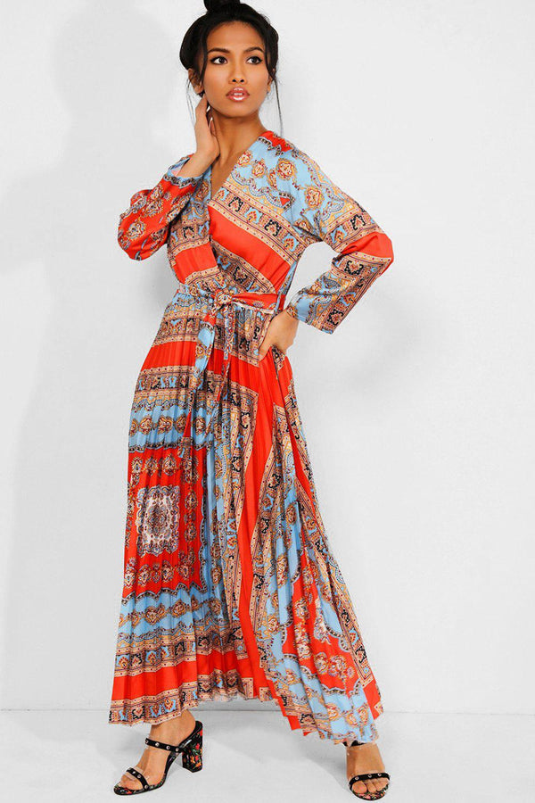 Orange Baroque Print Pleated Satin Maxi Dress - SinglePrice