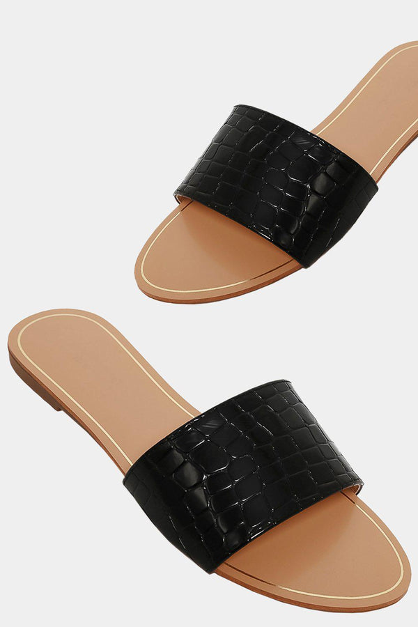 Black Mock Croc Straps Sliders
