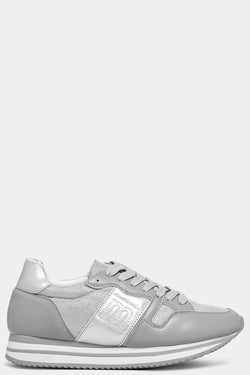 Grey M-Logo Shimmer Panels Trainers - SinglePrice