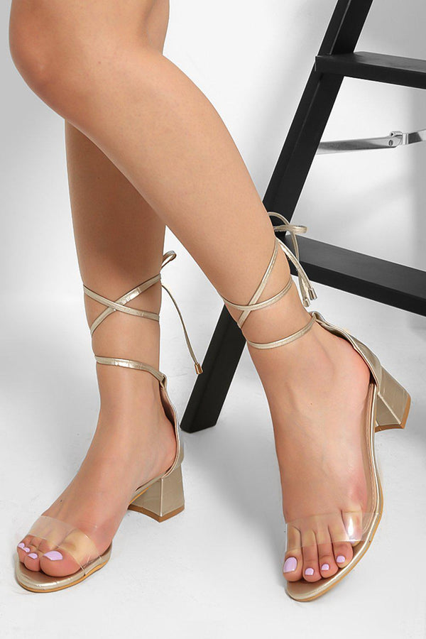 Gold Perspex Strap  Lace Up Low Block Heel Sandals