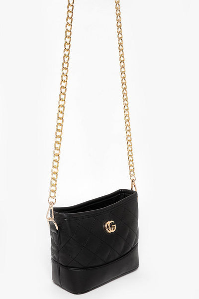 Gold Chain Black Quilted Mini Shoulder Bag-SinglePrice