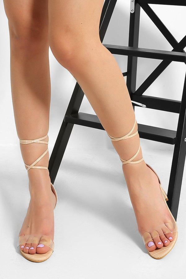 Blush Perspex Strap  Lace Up Low Block Heel Sandals