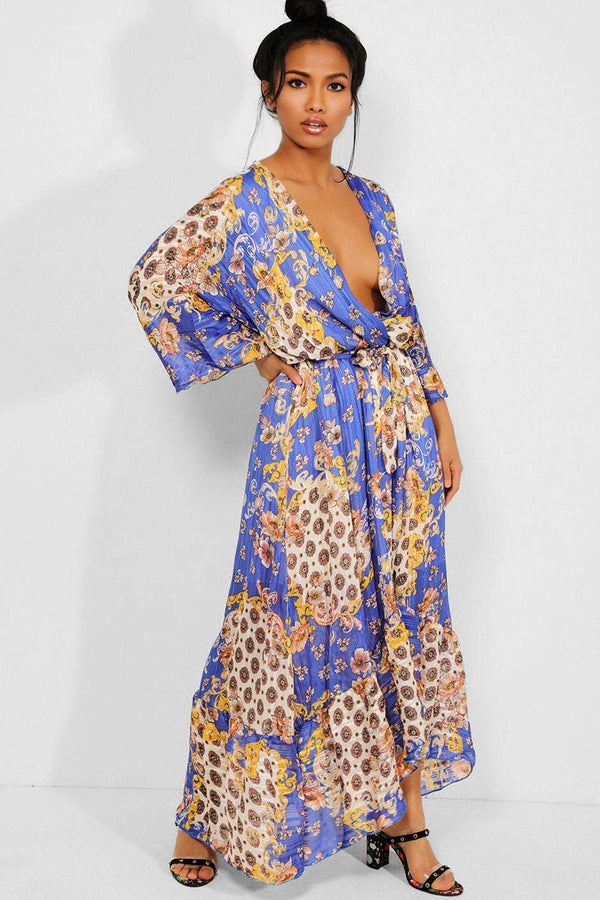 Blue Baroque Print Deep Plunge Chiffon Maxi Dress - SinglePrice