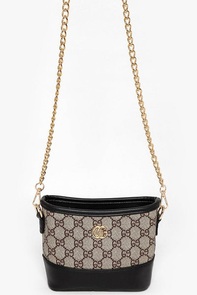 Gold Chain Beige And Black Mini Shoulder Bag-SinglePrice