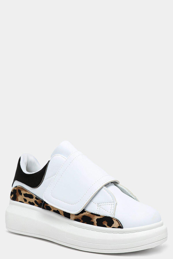 Black Tab Leopard Print Panels White Velcro Trainers - SinglePrice