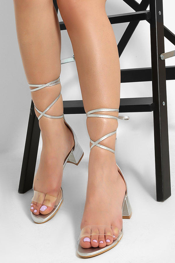 Silver Perspex Strap Lace Up Low Block Heel Sandals-SinglePrice