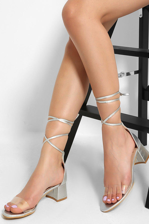 Silver Perspex Strap  Lace Up Low Block Heel Sandals