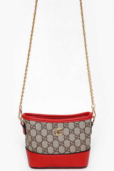 Gold Chain Beige And Red Mini Shoulder Bag-SinglePrice