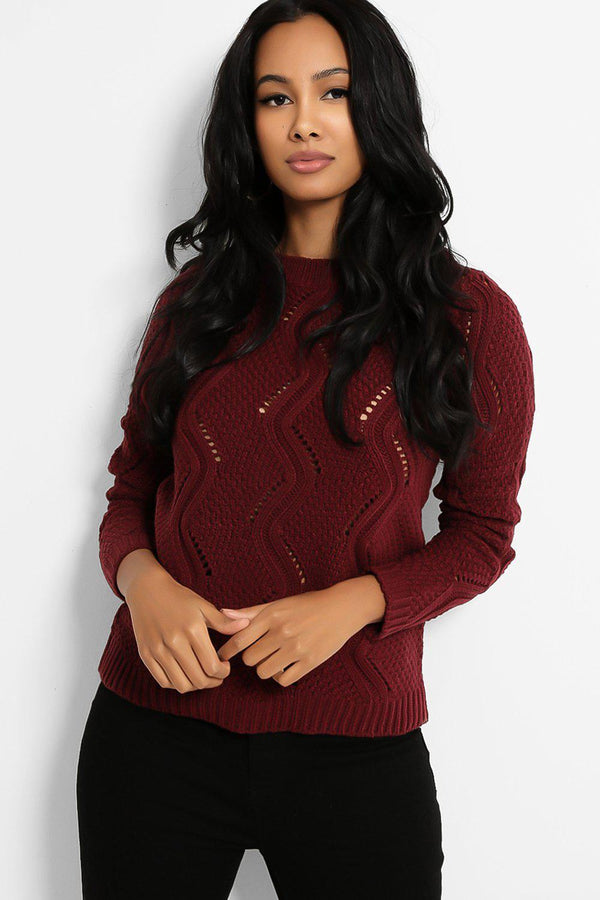 Burgundy Zigzag Perforated Knit Pullover - SinglePrice