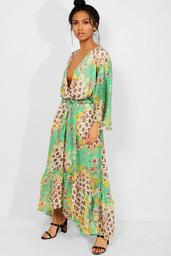 Green Baroque Print Deep Plunge Chiffon Maxi Dress - SinglePrice