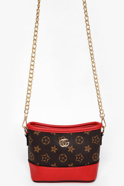 Gold Chain Brown And Red Mini Shoulder Bag-SinglePrice