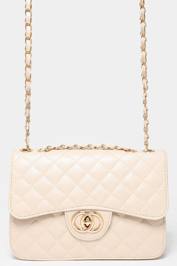Gold Chain Strap Quilted Cream Handbag-SinglePrice