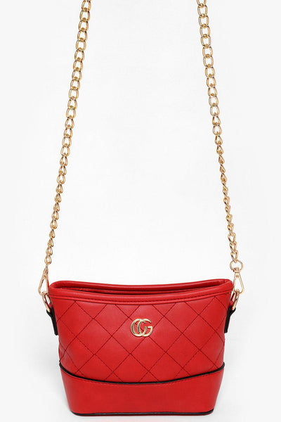 Gold Chain Red Quilted Mini Shoulder Bag-SinglePrice
