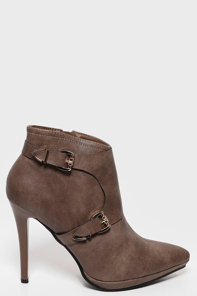129a1d37614d9 Double Buckle Point Toe Brown High Heel Ankle Boots-SinglePrice